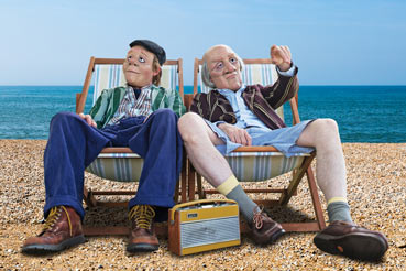 Two men sitting in deckchairs
