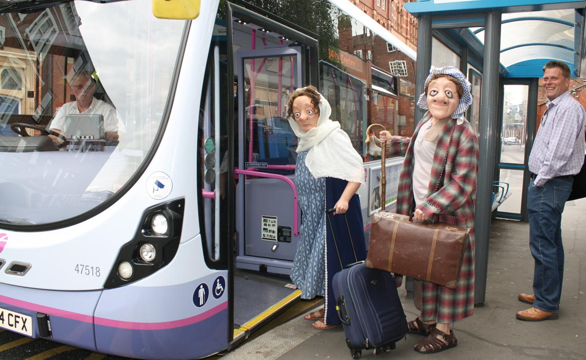 Mary and Joseph get on a bus