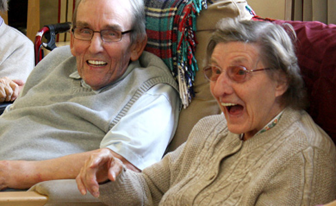 Two care home residents enjoy Sharing Joy
