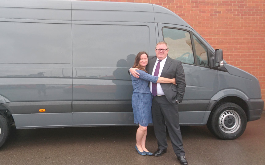 Rachael and her borther Bobby with the new Vamos van