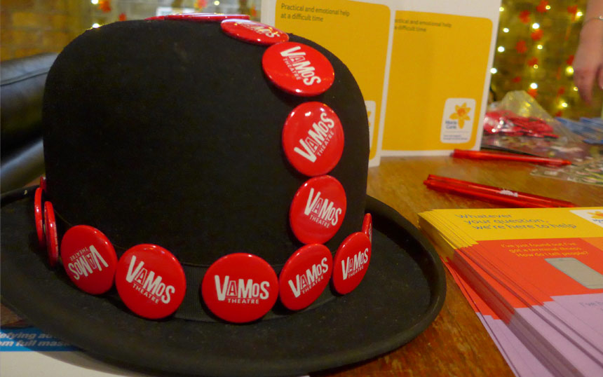 Bowler hat with Vamos Theatre badges