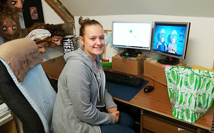 Work experience student Rebecca Cartwright in the Vamos office