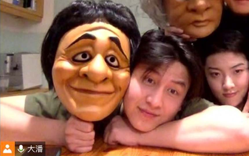 <p>Actor Xiaoxu Liu with mask</p>
