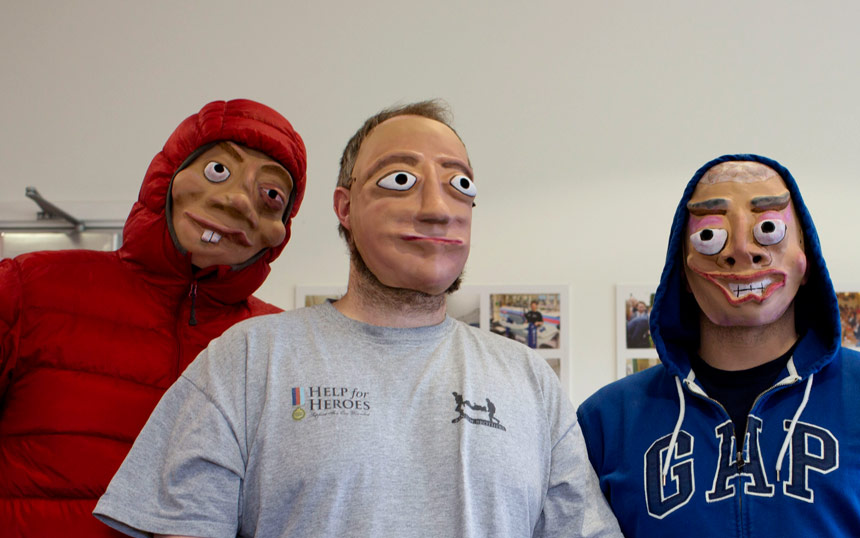 3 military veterans wearing masks