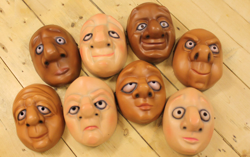 A set of 8 Vamos masks