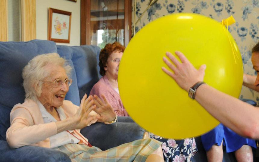 Having fun with a yellow ball