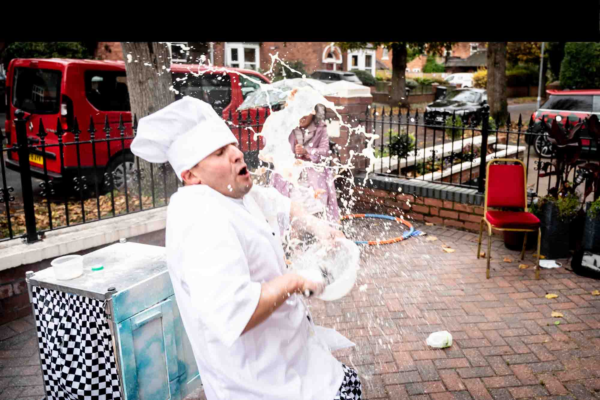 a chef covered in flour