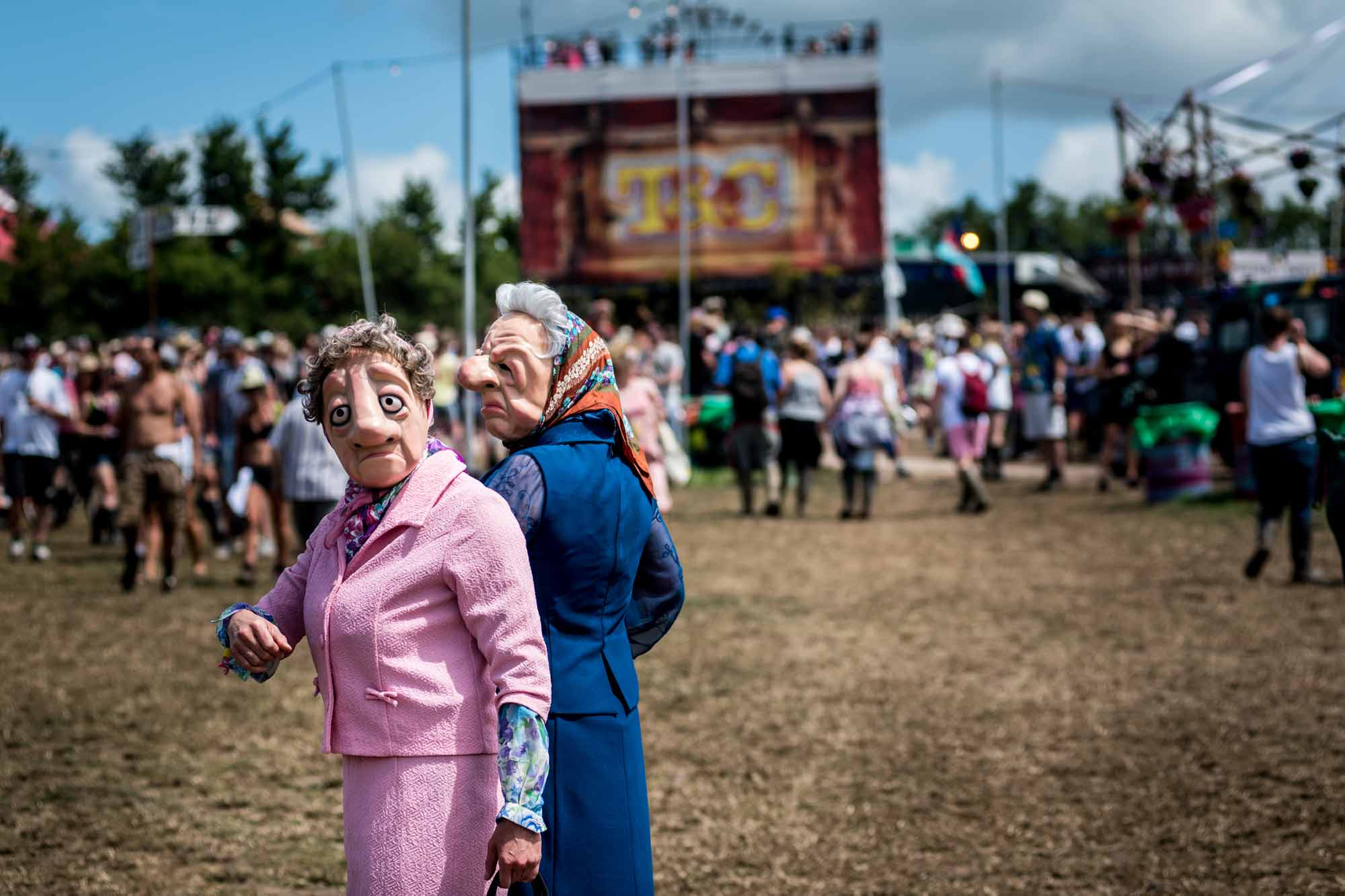 Crimplene Crusaders survey the scene at Glastonbury Festival