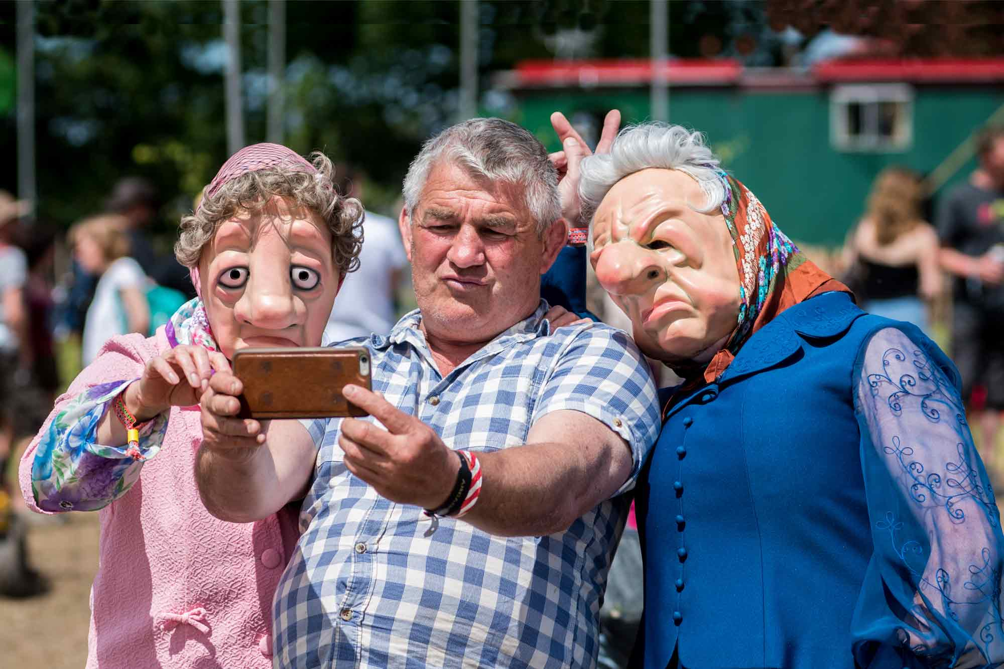Crimplene Crusaders take a selfie at Glastonbury Festival