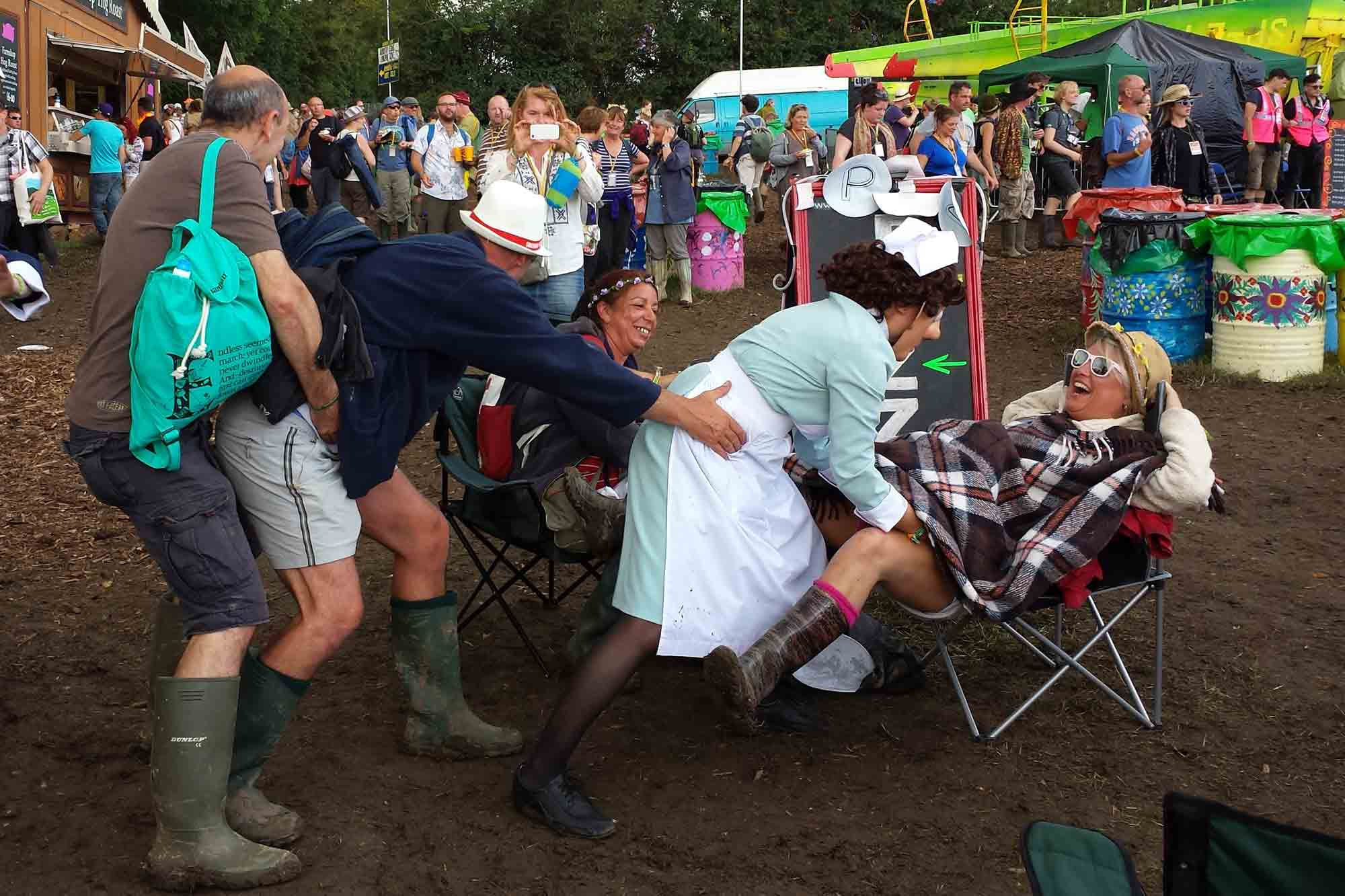 Midwives on Call help deliver a baby at Glastonbury Festival