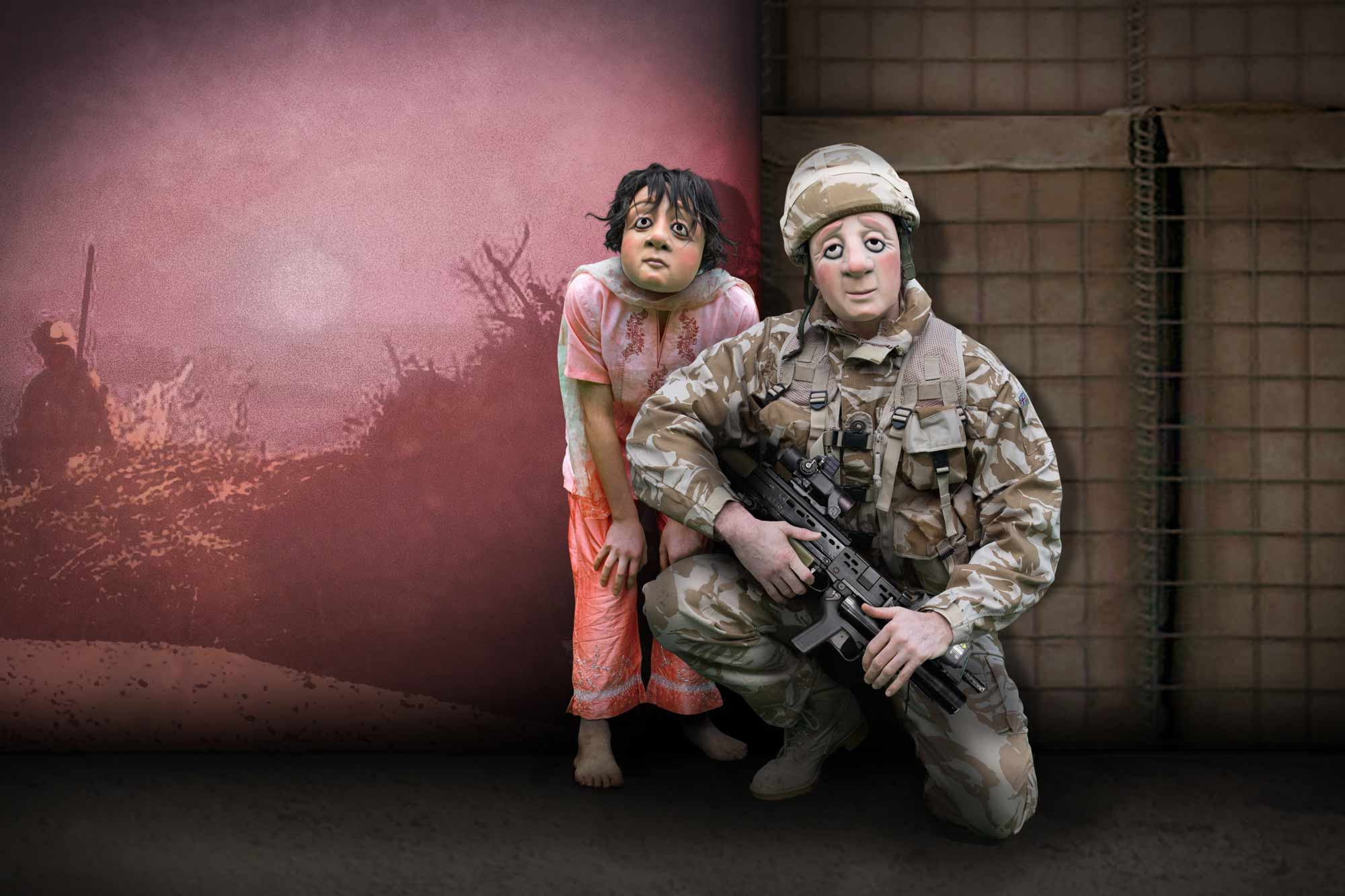 Soldier and little girl
